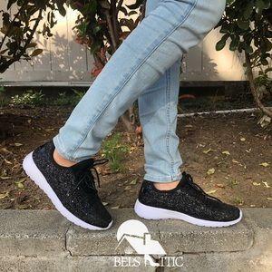 Shoes - Black Sparkling Glitter Sneaker Kicks